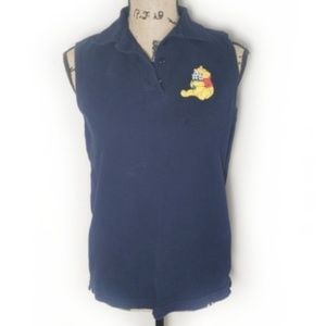 Vintage Disney Pooh Navy Collared Sleeveless Top